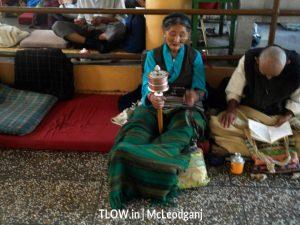 Buddhist old lady praying in dalai lama temple