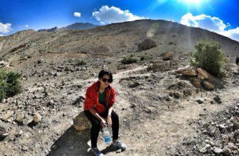 Solo woman hiking